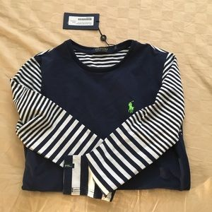 NWT Polo Golf blue&wht long sleeve w/back pocket